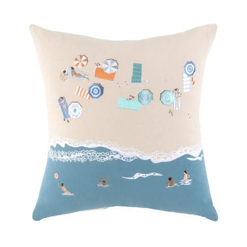 Beach Scene Embroidered Decorative Pillow