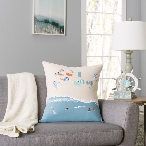 Beach Scene Embroidered Decorative Pillow room view