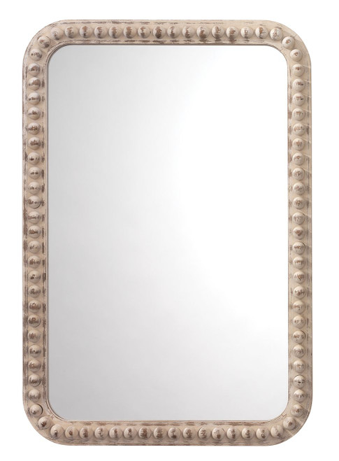 Rectangle Audrey Mirror in White Washed Wood