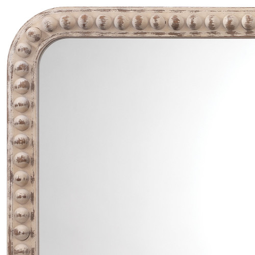 Rectangle Audrey Mirror in White Washed Wood close up frame