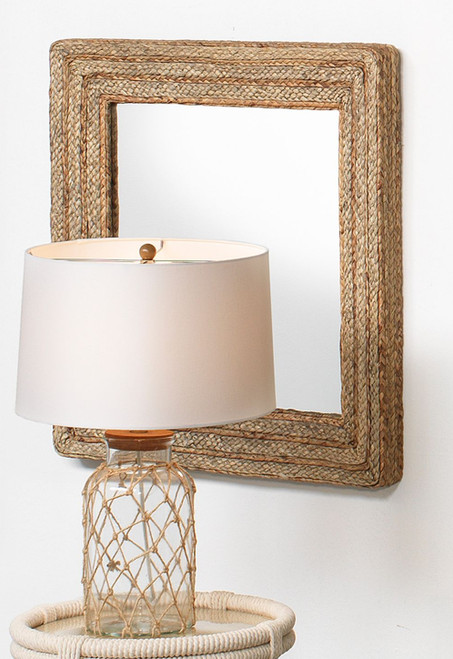 Casita Mirror in Natural Braided Seagrass room view