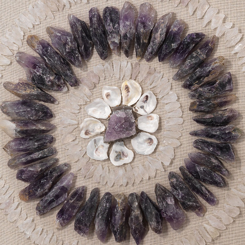 Multi-Crystal and Oyster Shell Framed Wall Art close up
