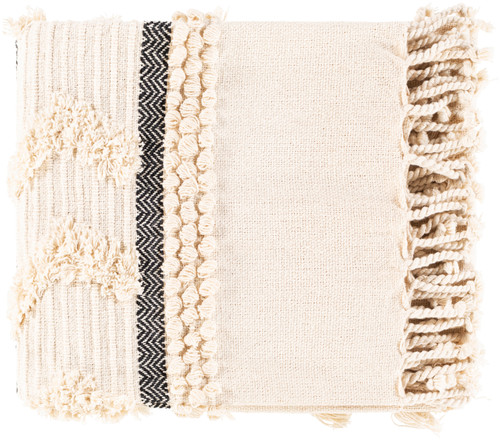 Boardwalk Ivory and Ink Tufted Beach Throw