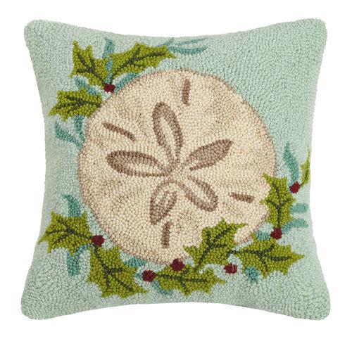 Aqua Holiday Sand Dollar Hooked Pillow