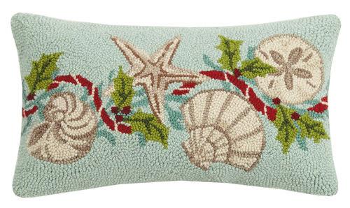 Aqua Holiday Shells 12 x 20 Wool Hooked Pillow