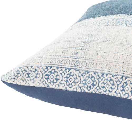 Laguna Denim Hand-Woven Pillow side view