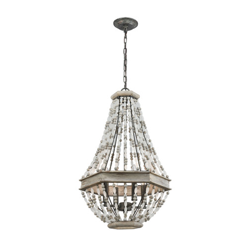 Summerton 4-Light Chandelier in Washed Gray and Malted Rust with Strung Beads