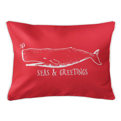 Vintage Red Whale Seas and Greetings Pillow