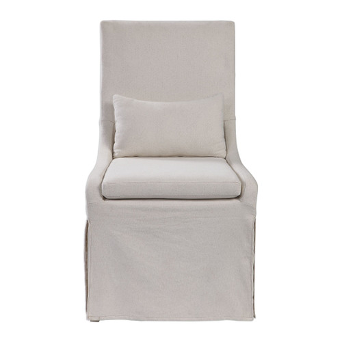 Colby White Linen Armless Chair view 1