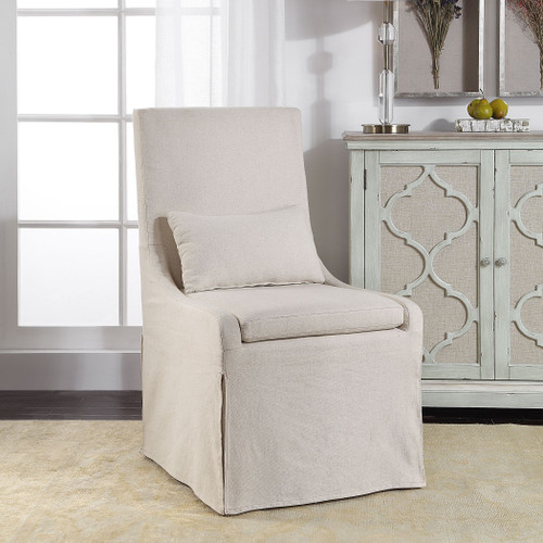 Colby White Linen Armless Chair