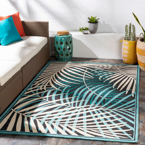 Teal Palms Hand-Hooked Area Rug room view