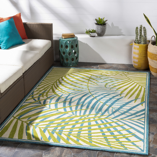 Tropic Green Palms Hand-Hooked Area Rug room view