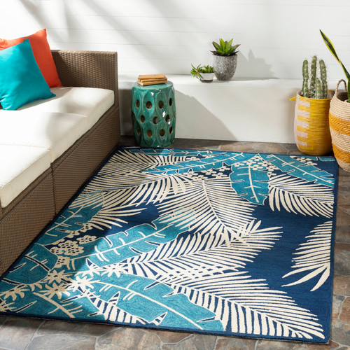 Navy Blue Palms Hand-Hooked Area Rug room view