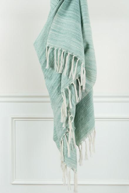 Aqua Waves Casual Knit Fringed Throw 1