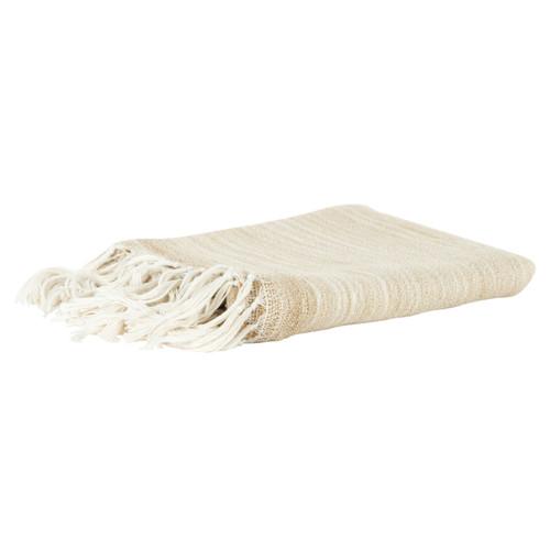 White Sand Casual Knit Fringed Throw folded image
