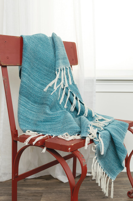 Turquoise Waves Casual Knit Throw room view