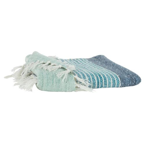 Aqua Stripes Casual Knit Throw with Fringe single iamge