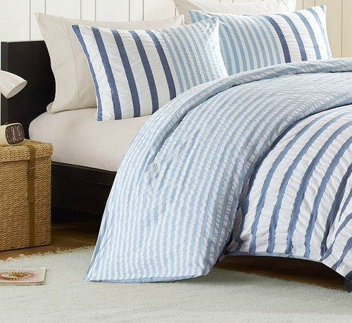 Sutton Blue Striped Bedding - Queen Size close up