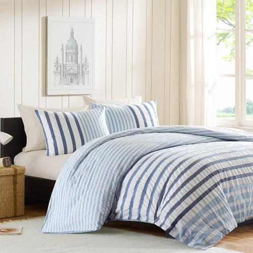 Sutton Blue Striped Queen Size Comforter Set