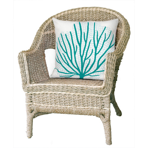 Turquoise Coral Fan Indoor-Outdoor 20 x 20 Pillow room view