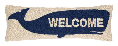 Welcome Blue Whale Wool Hooked Pillow