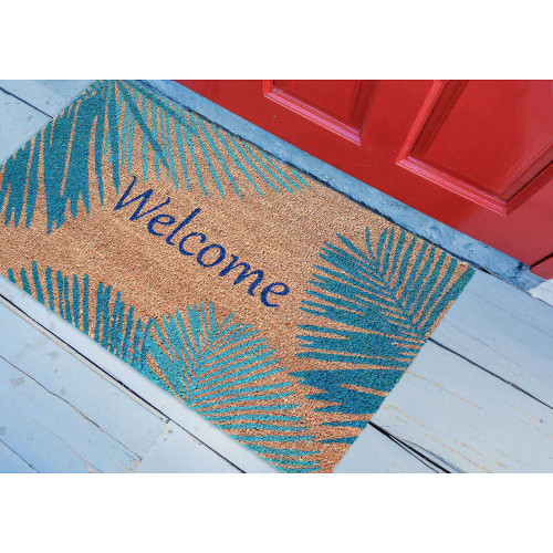 Welcome Door Mat with Blue Palms -24 x 36 front porch view