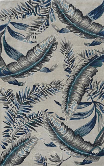 Grey-Blue Palms Tropics Rug