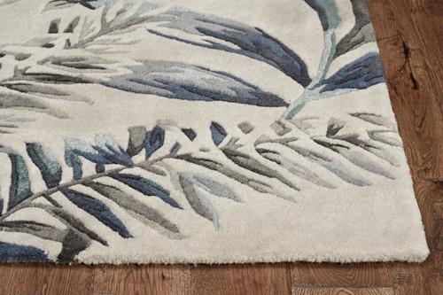 Grey-Blue Palms Tropics Rug corner image