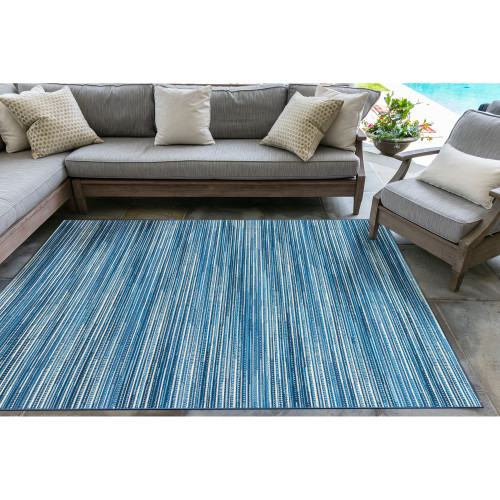 Marina Blue Striped Area Rug outdoor patio view