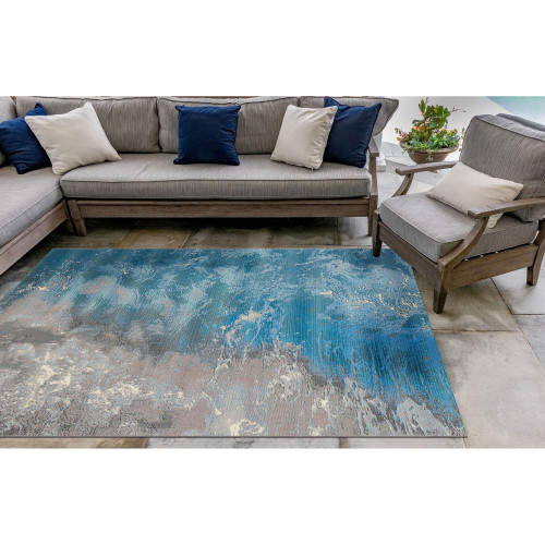 Surf Waves and Ocean Area Rug patio view