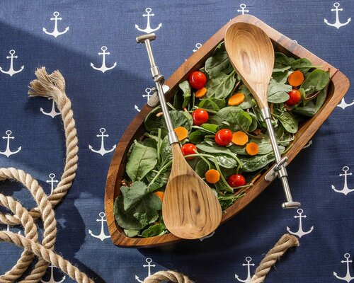 Row Boat and Oars Salad Set on table 1