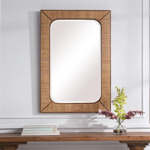 Tahiti Rattan Framed Mirror room view