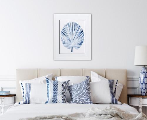 Deep Blue Indigo Tropical Leaf IV Image room example