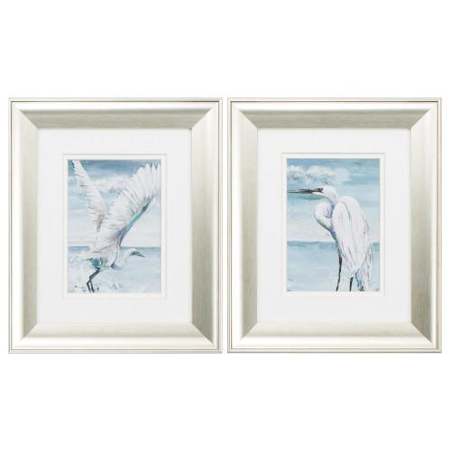 Silver Framed White Egret Prints - Set of Two