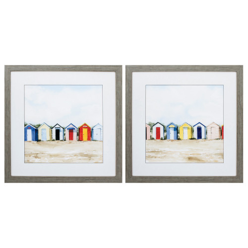 Bright Beach Huts Framed Images - Set of Two