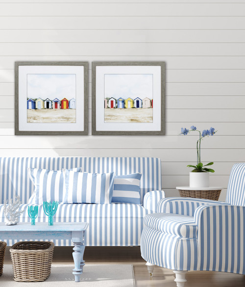 Bright Beach Huts Framed Images - Set of Two room view
