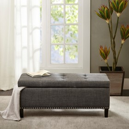 Grey Linen Tufted Storage Bench room view