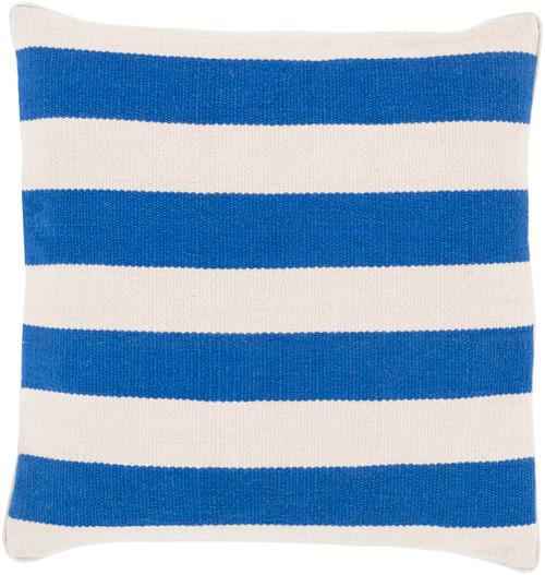 Bright Blue Stripes 18 x 18 Pillow