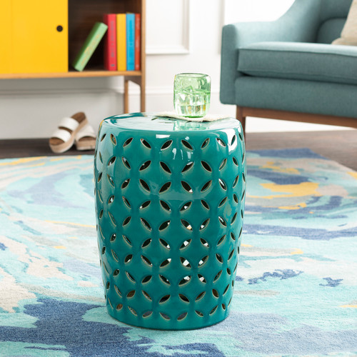 High Tide Turquoise Garden Stool room view