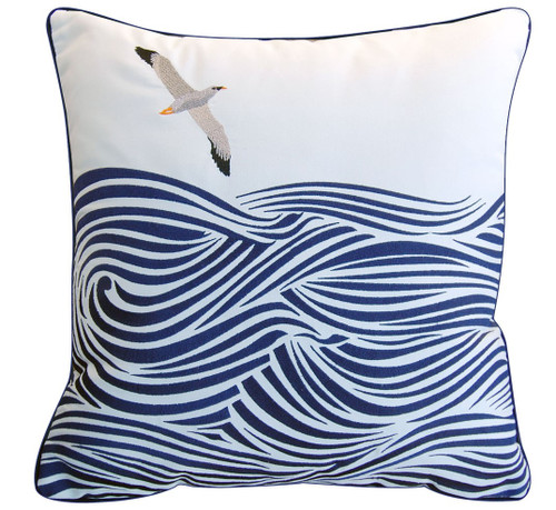 Albatross and Waves Embroidered Pillow
