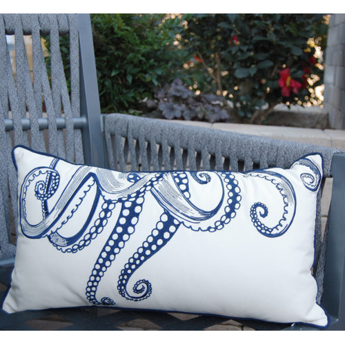 Octopus Reaching Tentacles Rectangle Pillow outdoor room view