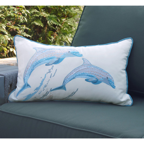 Playful Dolphin Embroidered Lumbar Pillow outdoor view