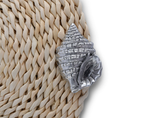Twisted Seagrass Placemats with Pewter Sea Shell - Set of 4 detail