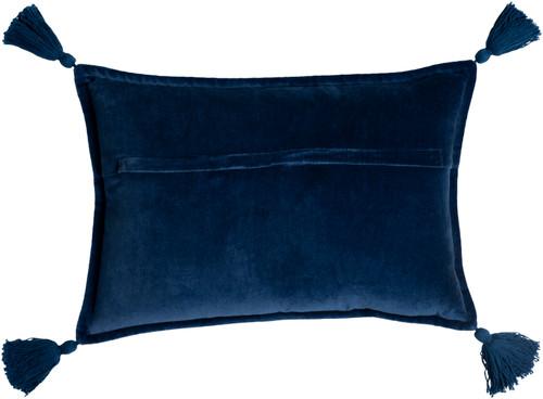 Deep Blue Velvet Oblong Pillow with Tassels back