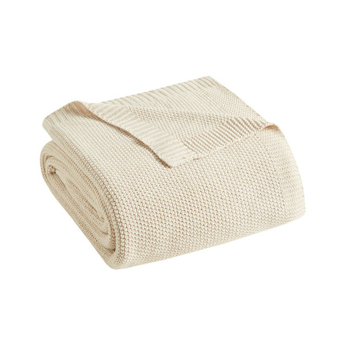 Cream Ivory Bree Knit Throw folded
