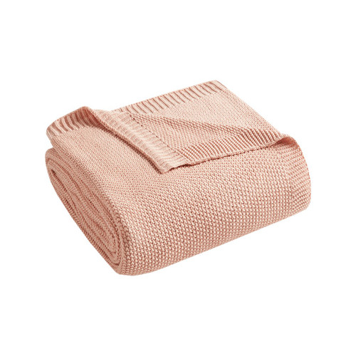 Coral Pink Bree Knit Throw folded