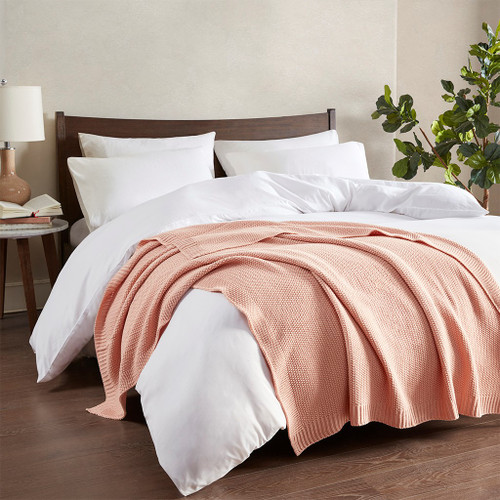 Coral Pink Bree Knit Throw