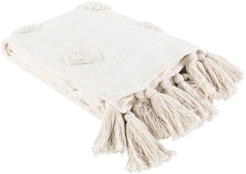 Dove Ivory Tufted Beach Throw angle view