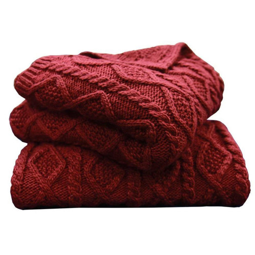 Crimson Diamond Cable Knit Wool and Cotton Throw