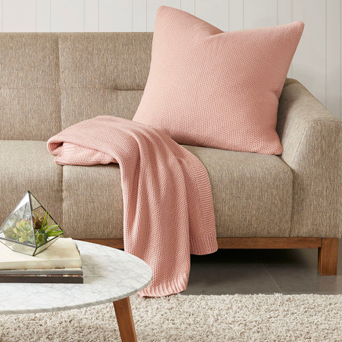 Coral Pink Bree Knit Euro Sham with matching throw blanket
